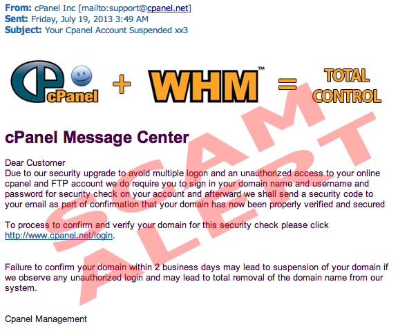 cpanel phishing scam