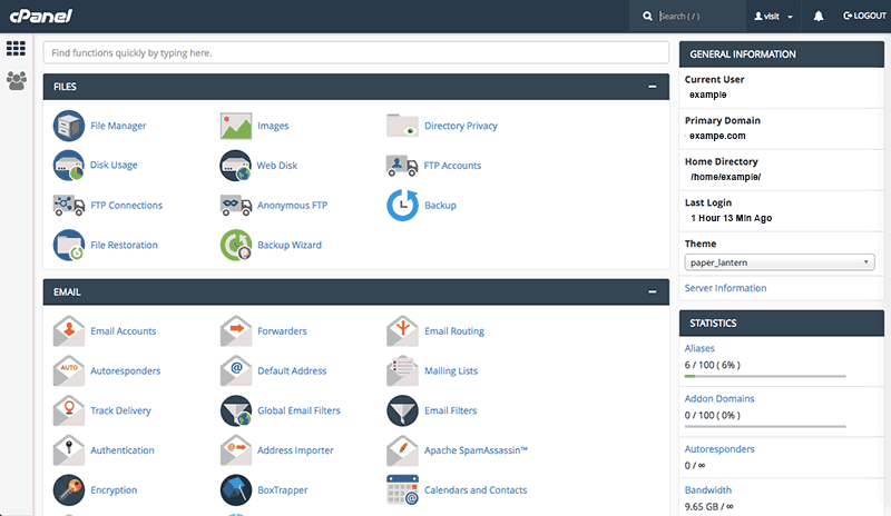 cpanel web hosting screenshot