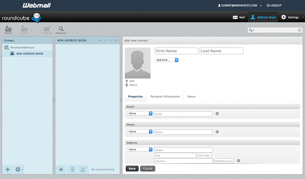 Roundcube Webmail contacts