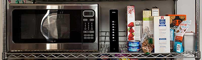 Wireless Modem located next to microwave